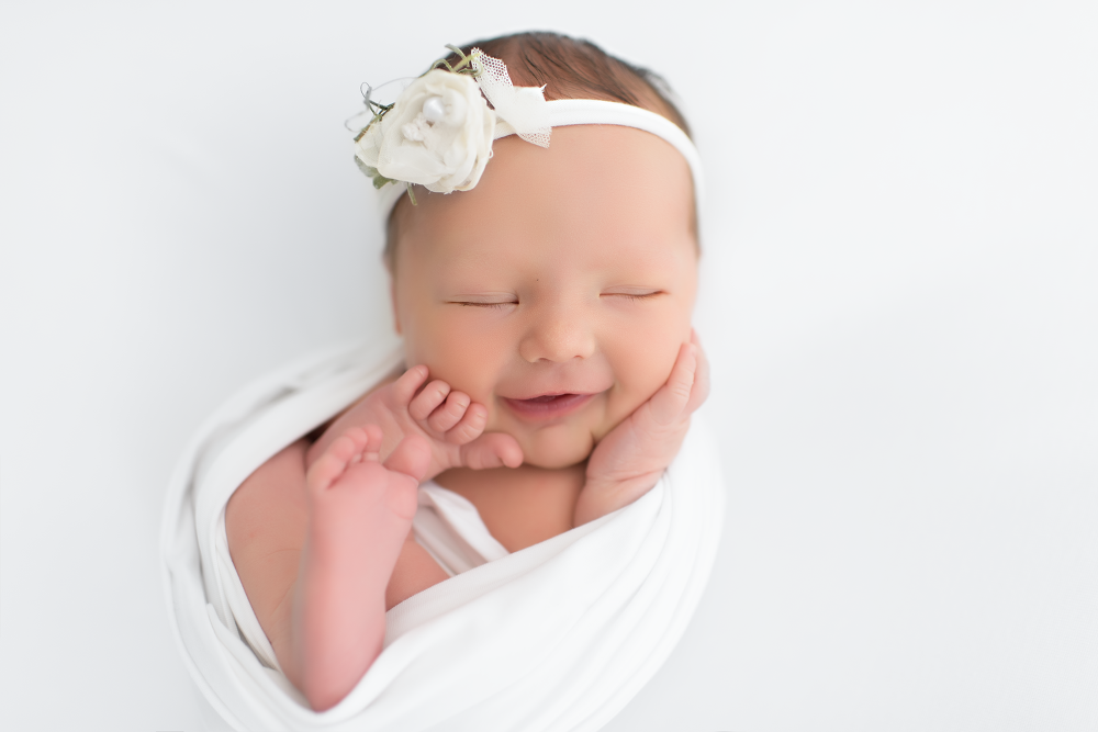 Chicago Newborn Photography Studio - Smiling Baby Photo